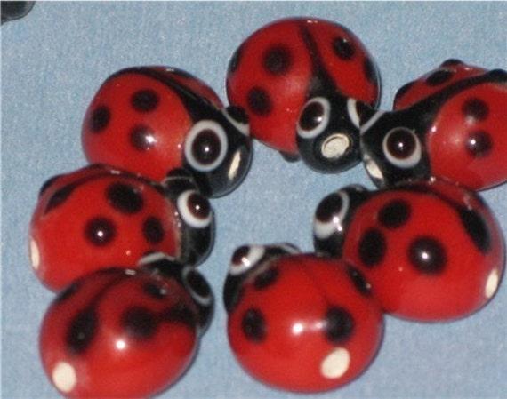 Lady Bug Beads (10)