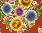 Oilcloth - Mexican Oilcloth by the meter - Bloom on Red