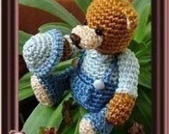 Pattern Andre the gardener  bear amigurumi crochet, digital pattern