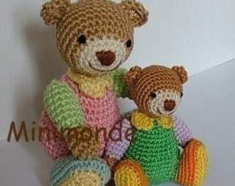 Youna and tom amigurumi bears crochet pattern, digital pattern
