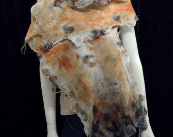 Eucalyptus dyed Nuno Felt Silk Habotai Wrap
