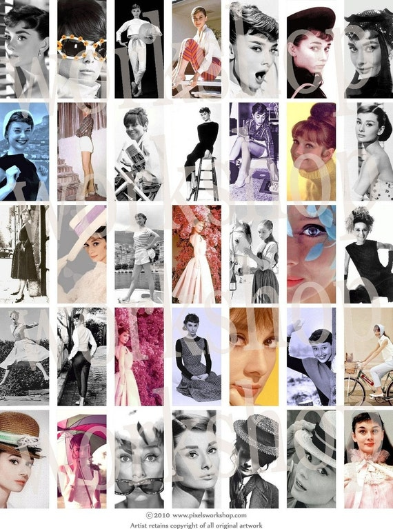 Audrey Hepburn Vintage Illustrations - pixelsworkshop 1 x 2 in. domino tiles digital collage sheet no. 30