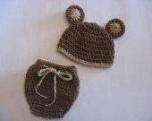 Baby Bear Photo Prop Hat and Diaper Cover Set Newborn