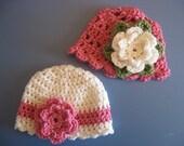 Crochet Baby Girl Boutique Hat Cap Beanie Newborn 0-3 Months Lot of 2