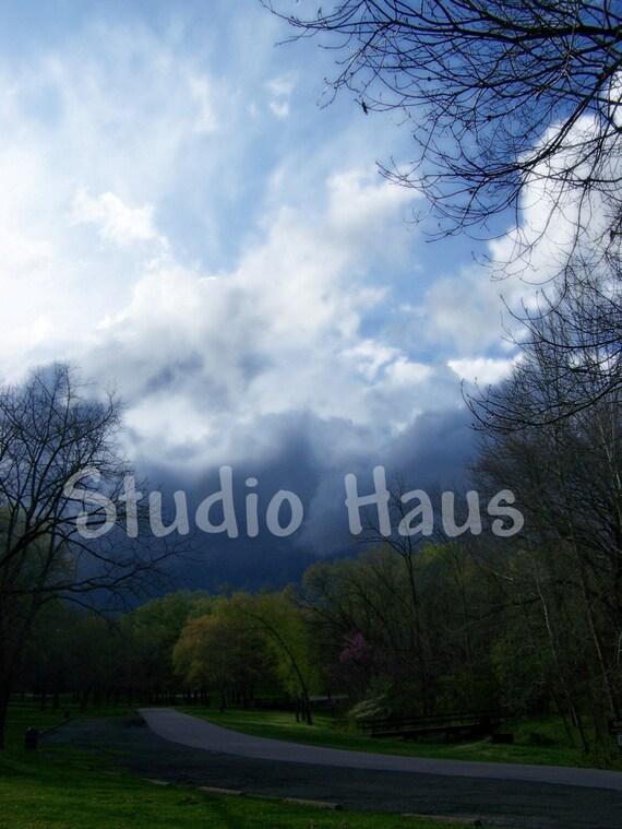 Brewing Storm - 5x7 - Clouds, Weather, Dark, Ominous, Navy Dark Blue - Fine Art Photography Print