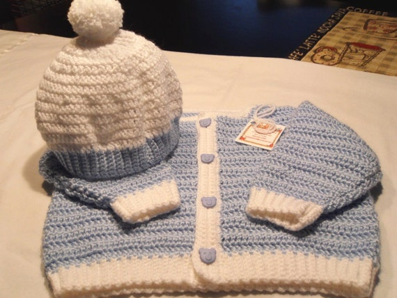 Boy's Sweater and Hat Set with Bear Buttons