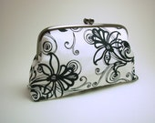 Large Clutch - Studio e - White with Black Floral and Scroll
