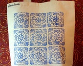 Blue Floral - Hand Printed Recycled Cotton Canvas Tote