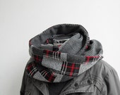 Misaki - Unisex Reversible Jersey Tube - Scarf Cowl Wrap Neckwarmer Capelet - Tartan Scale of Gray with Red Hot Chilli Pepper