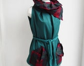 SALE - Pleated Tunica - Blouse-Vest - Origami Pockets -Raw Silk and Jersey - Deep Pine Green with Wine- Check Stripes - Maternity -Plus Size