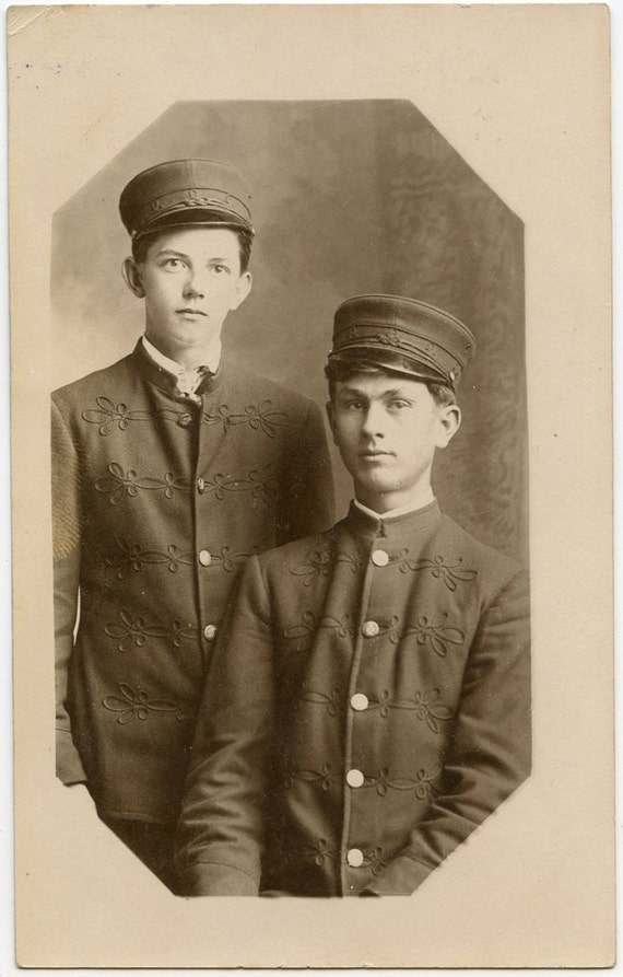 1900s Two Young Men in Matching Uniforms - rppc 084
