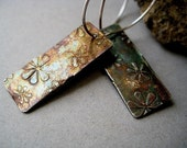 Pansy Fine Silver Floral Patterned Hoop Earrings