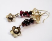 Silver Garnet and Citrine Floral Dangle Earrings