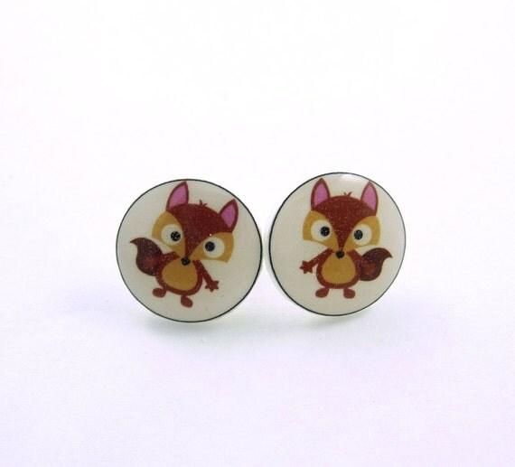 Fox Post Earrings.  Fox Resin Earrings.   Fox Earrings.