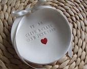 CUSTOM - Heart Embellished Wedding Ring Bowl - ROUND