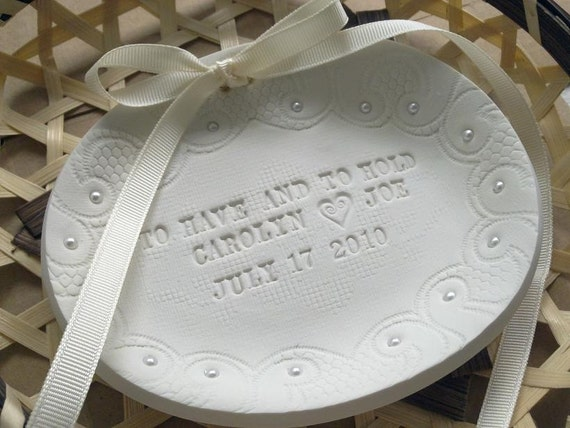 CUSTOM Romantic Wedding Ring Bowl - Lace Motifs and Pearls beads - plain words