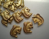 12 brass squirrel charms