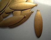 12 long flat brass oval drops/stamping blanks
