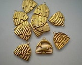 12 brass beehive charms