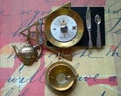 Time for dinner - mixed media brooch pin