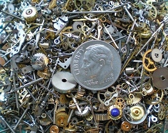 Vintage steampunk watch parts, 3 oz (84 grams) - Lots of tiny gears, wheels, hands and stems