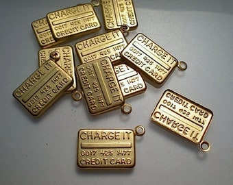 12 brass credit card charms