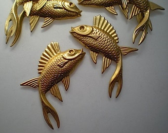 6 large brass fish charms, left and right