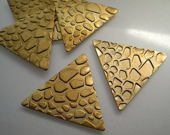 6 textured brass triangle blanks