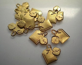 12 brass tea bag charms