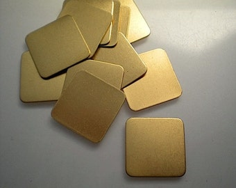 12 flat brass square stamping blanks, 3/4 inch