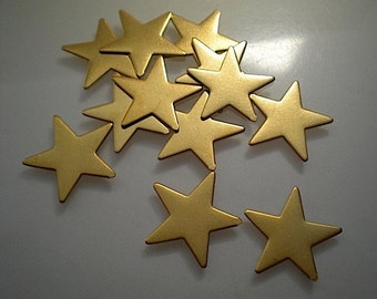 12 flat brass star charms/stamping blanks, 3/4""