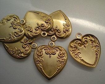 6 medium brass heart charms
