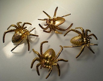 4 large brass 3-D spider charms