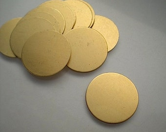 12 flat round brass discs/stamping blanks, 7/8 inch