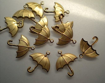 12 brass umbrella charms