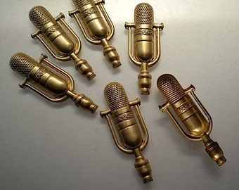 6 brass microphone charms