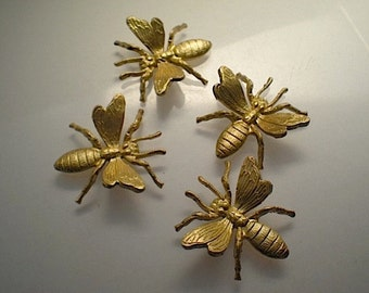 4 large brass bee charms
