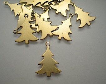 12 raw brass tree charms