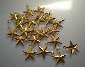 24 tiny brass star charms