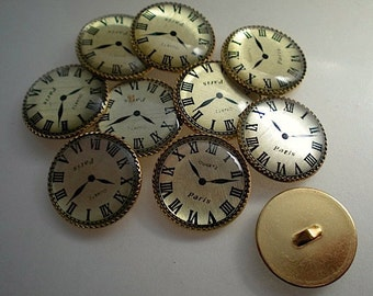 10 Paris clock buttons 5/8 inch,gold backed