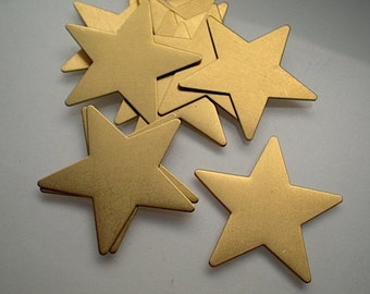 12 large flat brass star charms/stamping blanks, 1-1/2""