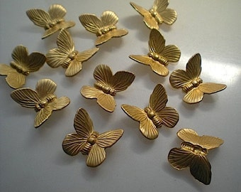 12 brass butterfly charms