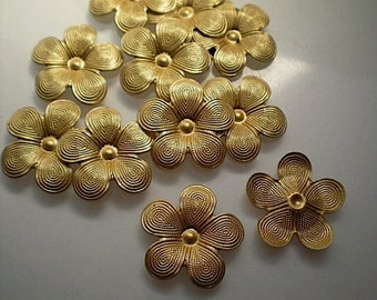 12 brass 5 petal flower charms