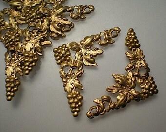 6 brass grape corner brackets