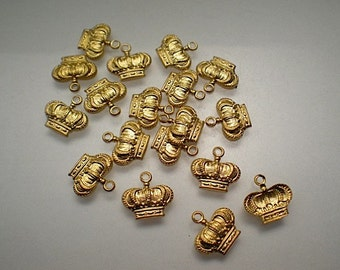18 tiny brass crown charms