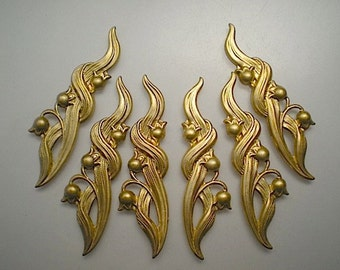 6 brass lily of the valley charms
