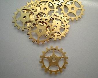 12 medium brass gear/sprocket charms/stampings