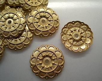 12 brass mirror rosettes, No. 4