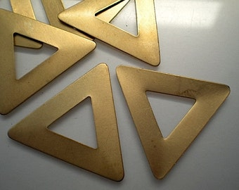 12 large brass open triangle stamping blanks