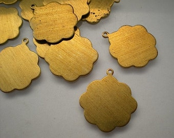 12 flat brass scalloped round discs/stamping blanks, 3/4 inch